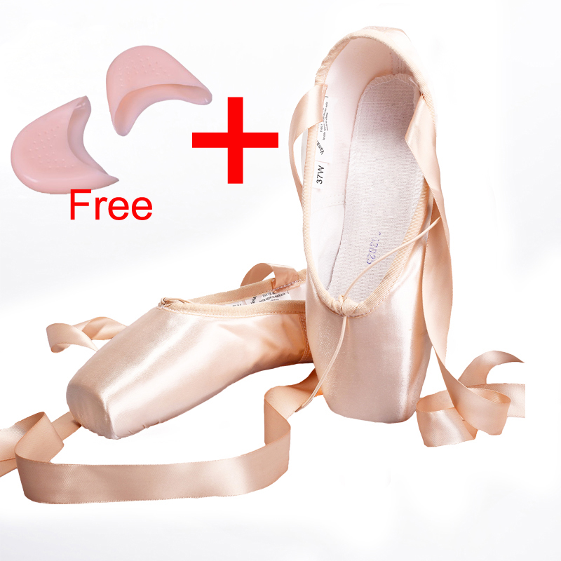 Satin Canvas Pointe Skor Med Ribbon And Gel Toe Pad Flickor Kvinnors Rosa Professional Ballet Dance Pointe Toe Skor 31-40W