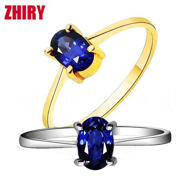 28dd40dfd64 Natural azul Safira Anel de pedra real 18 k Ouro Branco ou ouro rosa  mulheres gem
