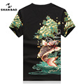 SHANBAO Casual T-shirt Men's Cotton Printing Summer Short-sleeved High-quality V-neck Slim Large Size Brand Male T-shirt 17043