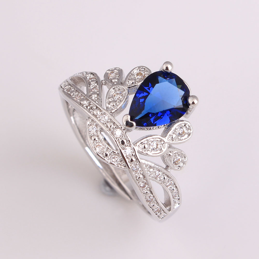 Royal Blue Green White Zircon Paved Crown Women Wedding Ring Lady Jewelry Silver Color Gift Pary Design In Stock Rings From Accessories On
