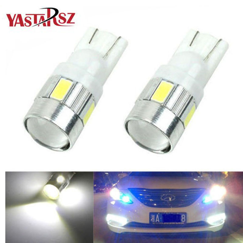 2x 2017 New update 4 colors T10 LED Auto Car Light Bulb 5730 SMD 6 LED W5W 12V Interior Parking Projector Lens Free Shipping 1x new update t10 led auto car light bulbs 5630 5730 smd 10 led w5w 12v interior parking projector lens white canbus dc 12v