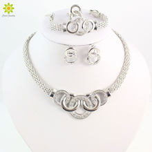 Jewelry Sets African Beads Collar Statement Silver Plated Necklace Earrings Bracelet Ring For Women Party Accessories(China)