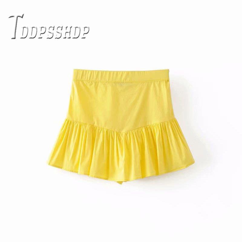 2019 Layer Ruffles Women Shorts Bright Yellow Color Fashion Female Shorts