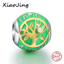 New arrival Original European Bracelets Tree round charms silver 925 beads Jewelry Making for women Gifts Green color Enamel
