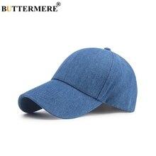 BUTTERMERE Blue Baseball Cap For Men Cotton Casual Snapback Women Adjustable Denim Vintage Solid Summer Dad Hat Male 2019