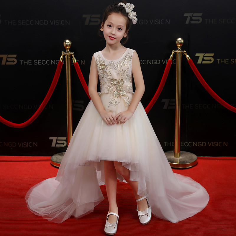 Summer New Kids Baby Champagne Color Princess Flowers Birthday evening Party Long Tail Dress Children Girls Elegant Prom Dress