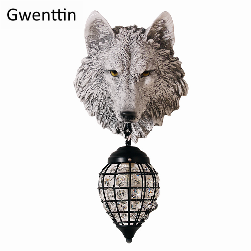 Resin Wolf Wall Lamps Vintage Led Crystal Wall Sconce Light Fixtures for Living Room Bedroom Loft