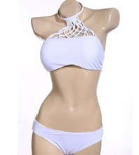 High Neck Bikini Set White Fishnet 2016 Women Cropped Top Swimsuit Strappy Swim Suit Push Up Swimwear Vintage Bathing Suit H099