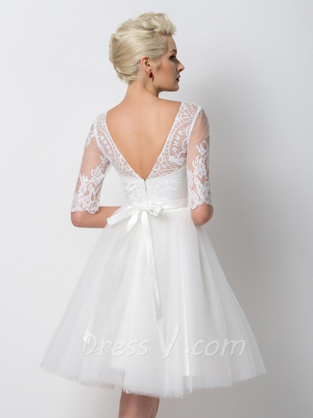 Dressv White Short Cocktail Dresses 2017 Sheer Lace Half Sleeves A ...