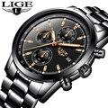LIGE мужские роскошные брендовые полностью Стальные кварцевые часы мужские военные водонепроницаемые спортивные часы мужские модные повсед...