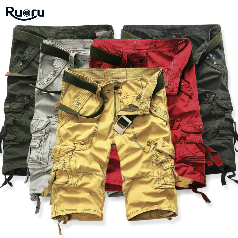 Ruoru New Shorts Men Summer Hot Sale Work Short Pants Camouflage Military Brand Clothing Fashion Mens Cargo Shorts 29 - 42
