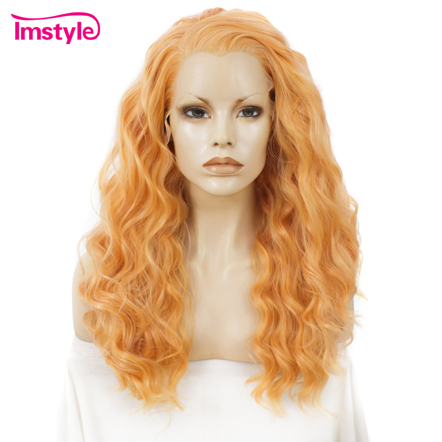 Imstyle Orange Wig Synthetic Hair Lace Front Wigs For Women Deep Wave Wigs For Women Heat