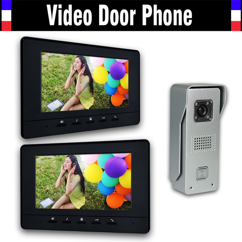 7 LCD 2pcs Monitor Video Door Phone Intercom Doorbell System Home Security Intercom Kits IR Camera Door bell Intercom Doorphone yobang security video doorphone camera outdoor doorphone camera lcd monitor video door phone door intercom system doorbell