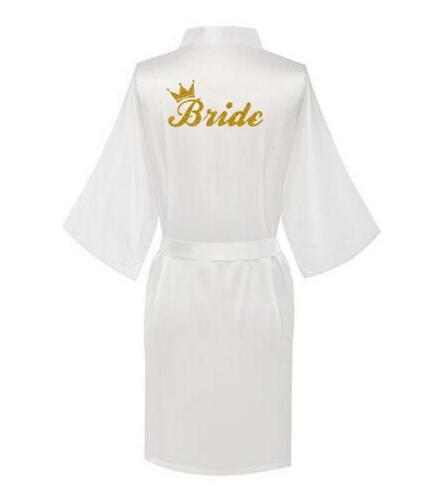 Satin Women Silk Dressing Gown Wedding Bride Bridesmaid kimono Robe Brida