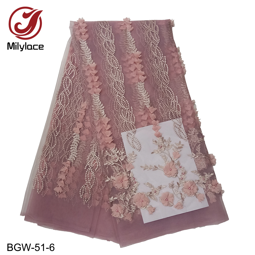 Good quality unique design 3d flowers french lace fabric beaded tulle lace fabric african net lace