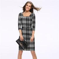 New Casual Work Vintage Dress Office Lady Solid Square Neck V Back 3 4 Sleeve Grid