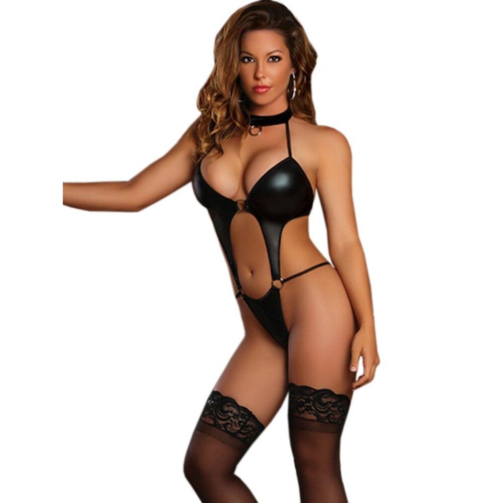 2017 Sexy Women Wetlook Latex Lingerie Erotic Vinyl Hollow Out Teddy Halter Nightwear Through Steel Rings To Link W880452