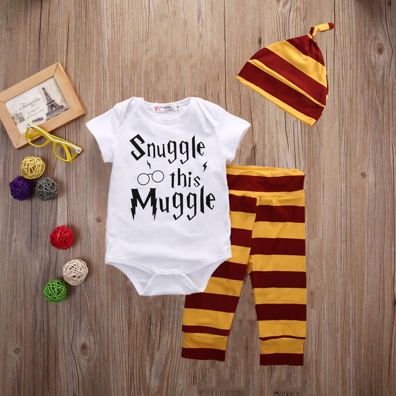 Newborn baby boy girls clothing 3pcs sets Infant Toddle girls Romper+Pants+Hat Snuggle on this muggle baby clothes outfit
