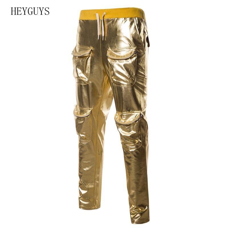 Pants Men Multi-Pocket Motorcycle Casual Hip-Hop Gold Metallic Bronzing Shiny