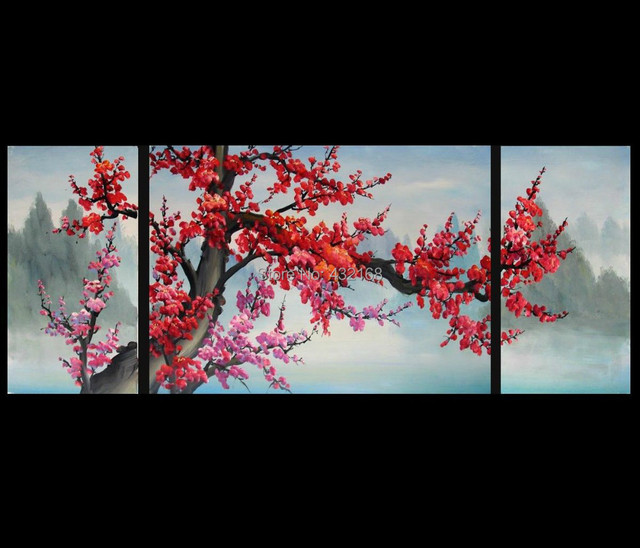 Japanese Cherry Blossom Abstract Art Paintings Modern Wall Art Decor ...