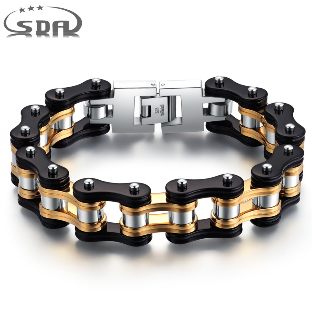 SDA Hot fashion Mens motorcycle chain bracelets,16mm wide Top quality genuine 316L stainless steel with Gold YM078 trustylan shiny glossy 316l stainless steel mens bracelets 2018 20mm wide chain bracelets jewellery accessory man bracelet
