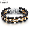 SDA Hot fashion Mens motorcycle chain bracelets,16mm wide  Top quality genuine 316L stainless steel with  Gold Plated YM076