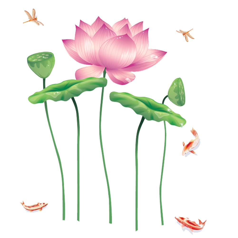 6090cm chinese lotus flower wall sticker 0263 decals removable aeproducttsubject izmirmasajfo