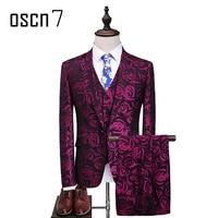 OSCN7 Purple 3PCS Rose Suit Men 2017 Floral Slim Fit Casual Stage Wedding Suits for Men Plus Size S-5XL Terno Masculino Tuxedo