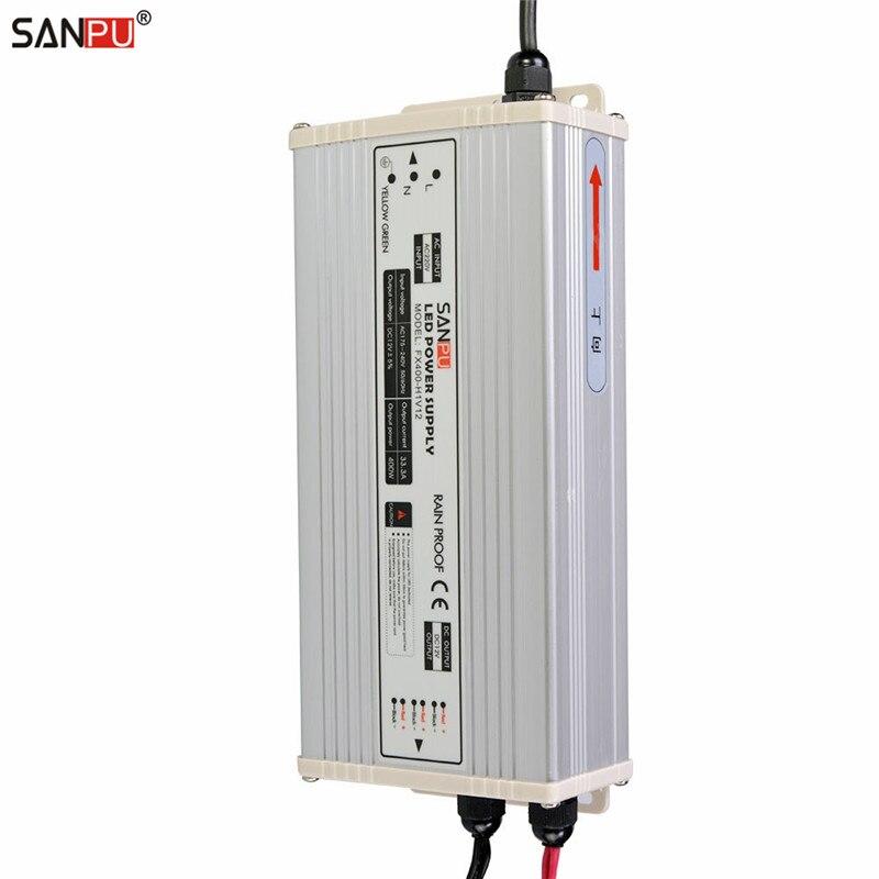 SANPU SMPS 220V 110V AC to DC 12V LED Rainproof Power Supply Driver Transformer 400W 33A IP63 Aluminum Shell Outdoor for LEDs