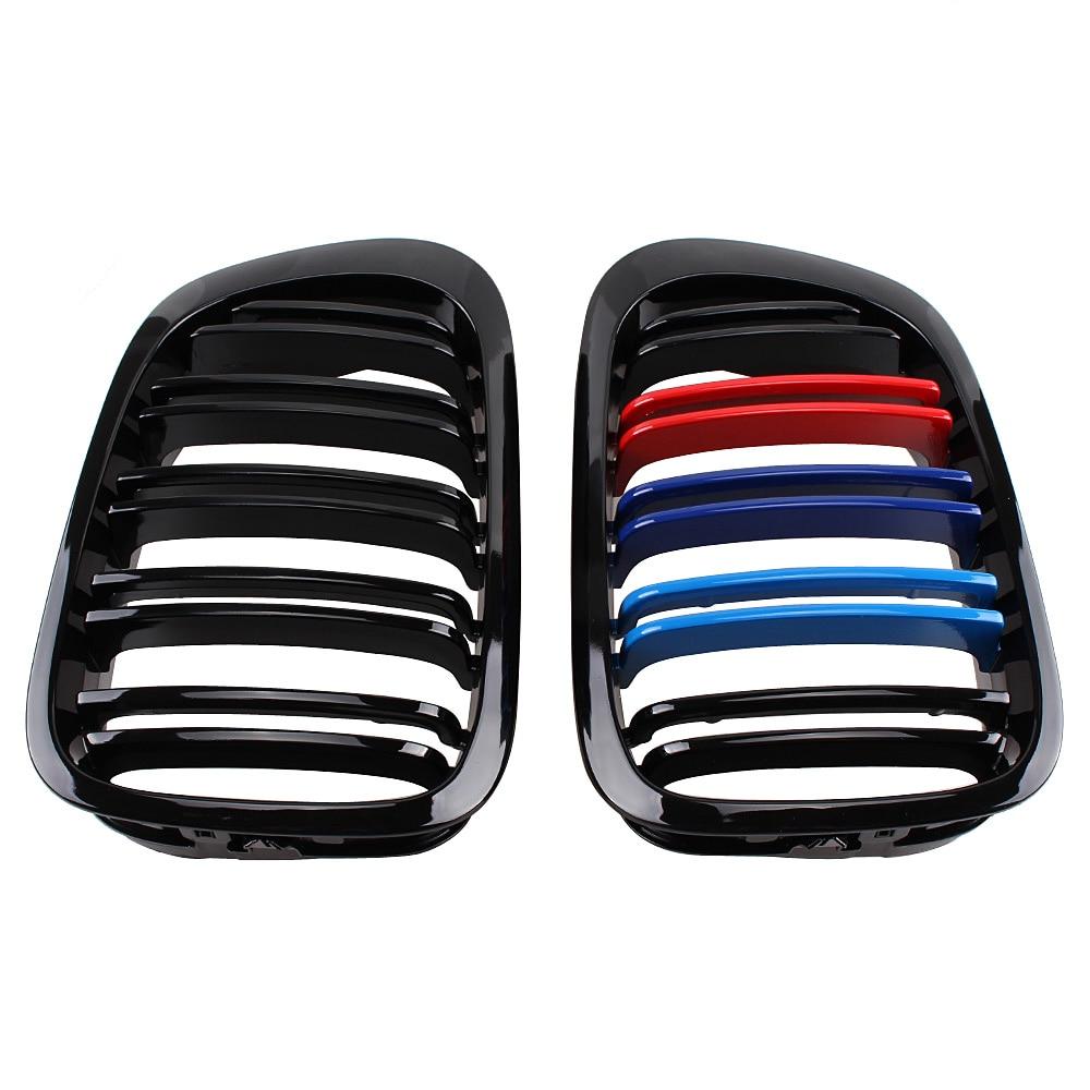 Grille de calandre avant noir brillant m-color pour BMW E46 2 portes 3 Series 1998-2002 325Ci/330Ci/323Ci/328Ci