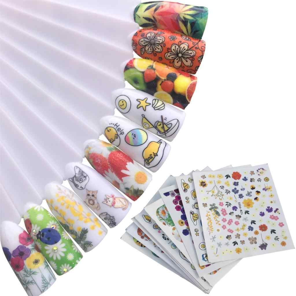 10 Styles Optional Water Tattoos Nail Decals Decoration Animal / Star / Cartoon / Fruit Mixed Colorful DIY Nail Art Stickers
