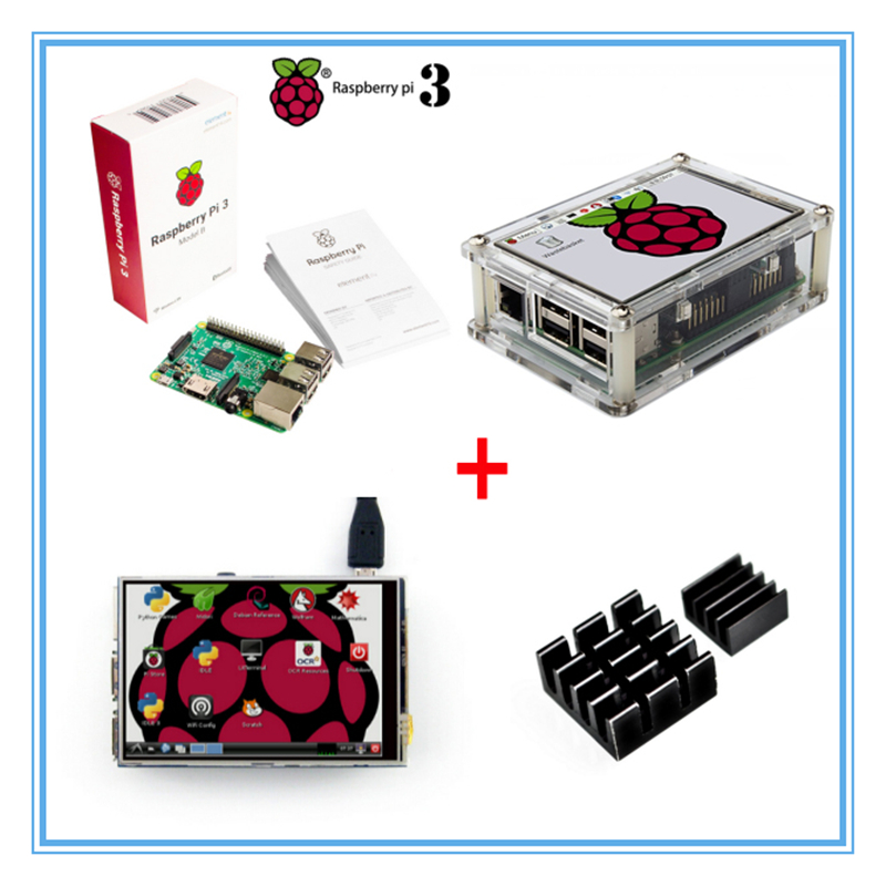 Raspberry Pi 3 Model B Board+New Version 3.5 Inch TFT LCD USB Touch Screen + Acrylic Case + Heat sinks For Raspberry Pi 3 3 5 inch touch screen tft lcd 320 480 designed for raspberry pi rpi 2