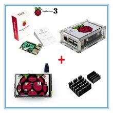 Raspberry Pi 3 Модель B доска + новая версия 3.5 дюймов TFT ЖК-дисплей USB Сенсорный экран + акриловый чехол + тепло раковины для Raspberry Pi 3