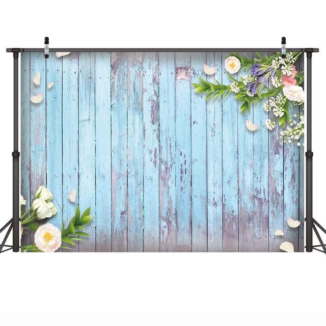 Backdrop Wood Floor Newborn Baby Shower Photo Background Wedding Backdrop Flowers Spring Photography Backdrops Vinyl Photophone