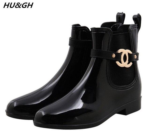 Yeni kauçuk ayakkabı Moda yağmur çizmeleri Kızlar Bayanlar Yürüyüş Su Geçirmez PVC kadın Çizmeler Kış Kadın Martins Rainboots 35-40
