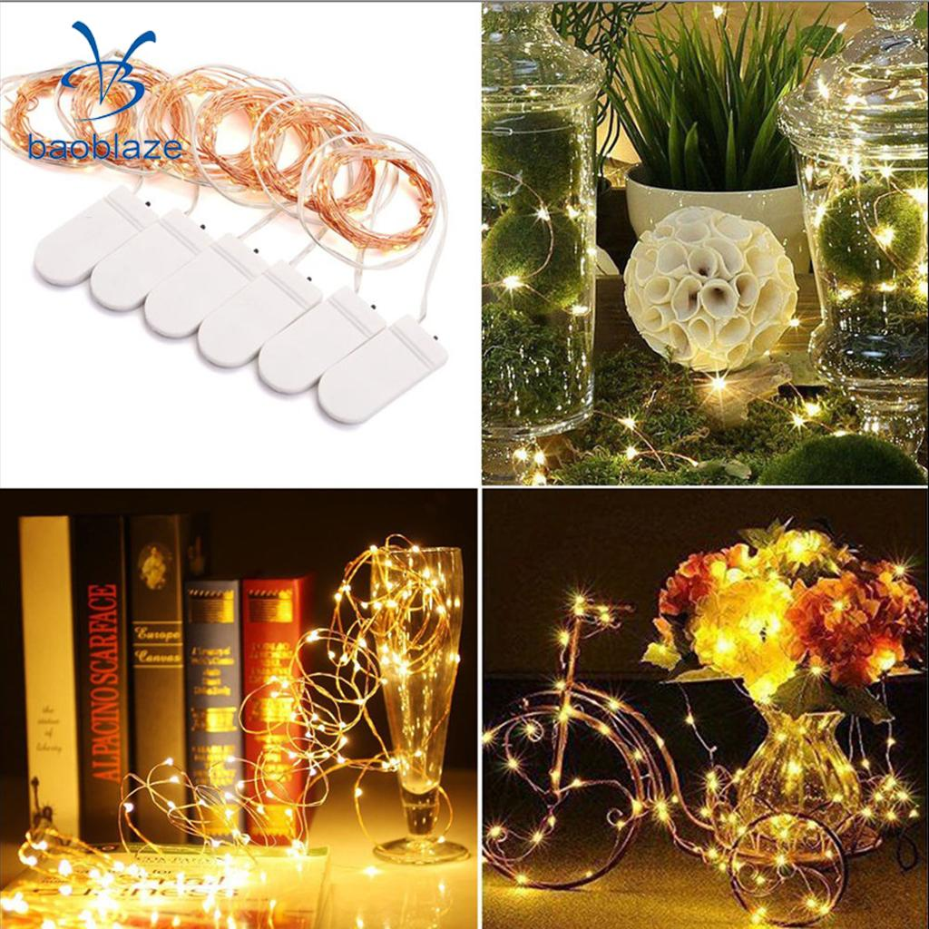 6Pcs 2M 20Led Battery Fairy Led Cooper Wire String Light, Indoor/Ourdoor Micro LED Lights, Home Garden Patio Decor DIY