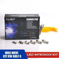 14pcs Error Free Xenon White Premium LED Map Dome Interior Full Light Kit for MK6 MKVI GTI VW GOLF 6 WITH Installation Tools