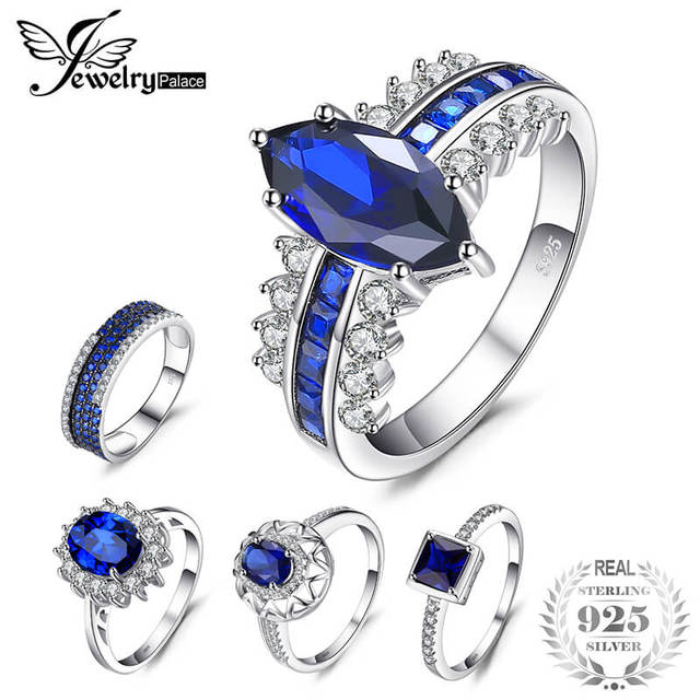 JewelryPalace Blue Created Sapphire Rings For Women Jewelry 925 Sterling Silver 1.1-7ct More Fashion Engagement Wedding Rings