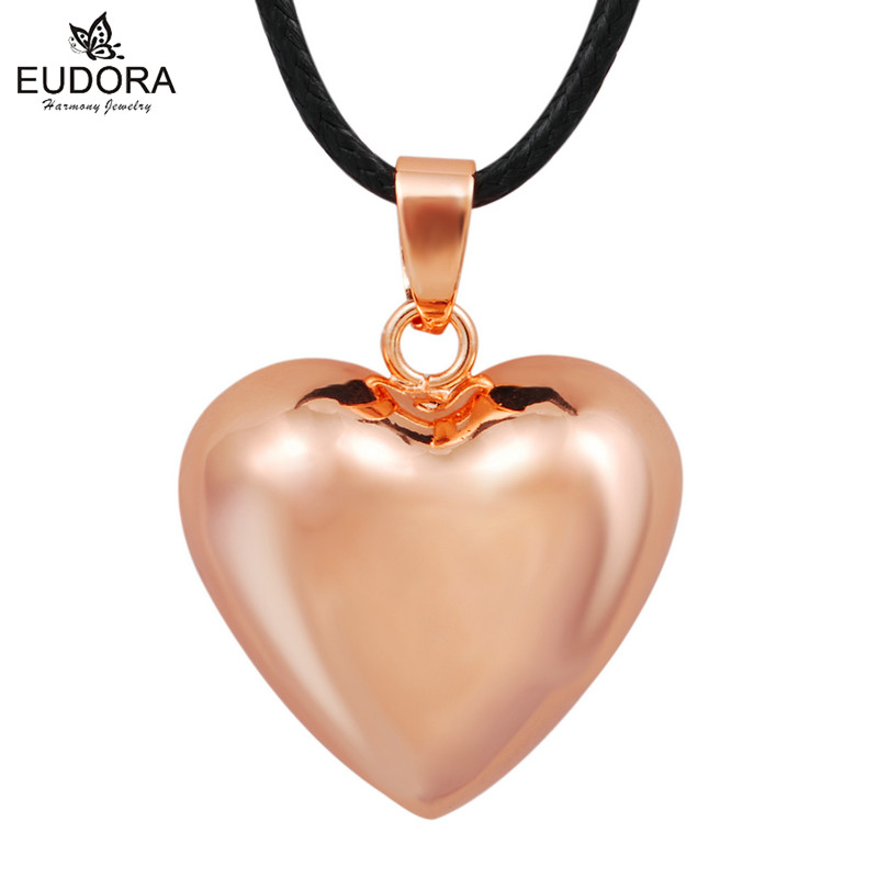 Rose Gold Heart Chime Bola Pendant Bola Ball Hamrony Mexico Chime Ball Baby Custom Jewelry Angel Caller Long Necklace Love