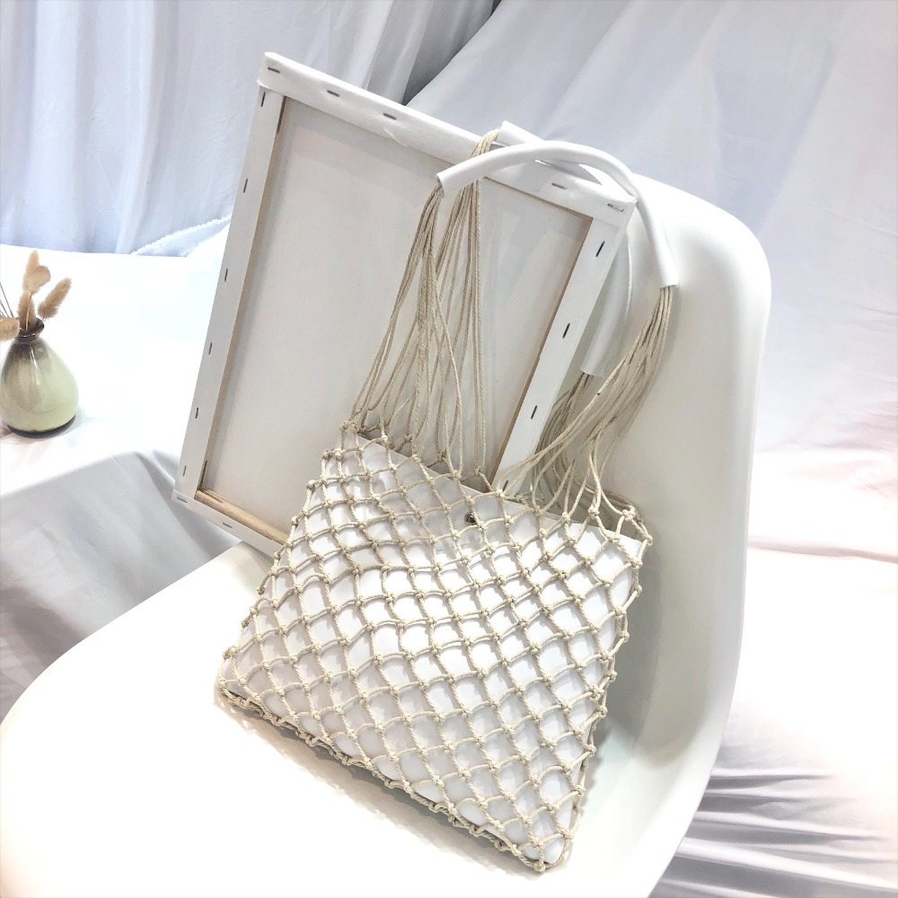 Designer Casual Hollow Net Flap Bag Pu Leather Hollow Women Shoulder Bag Hemp Rope Woven Handbag Bohemian Beach Bag Lady Handbag 2