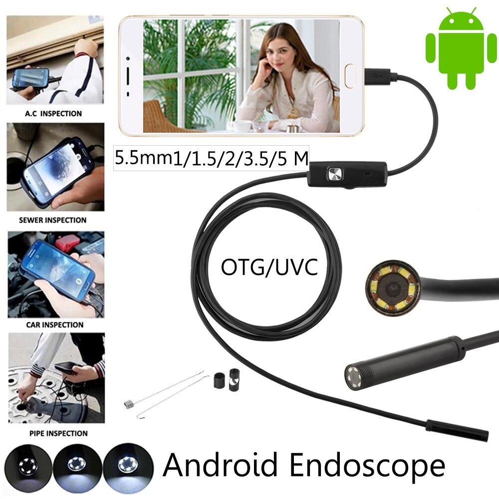 JCWHCAM 5.5mm Lens 1 M 2 M 3.5 M 5 M Android USB Macchina Fotografica Dell'endoscopio Del Serpente USB Flessibile Tubo controllo Telefono Android Fotocamera Periscopio