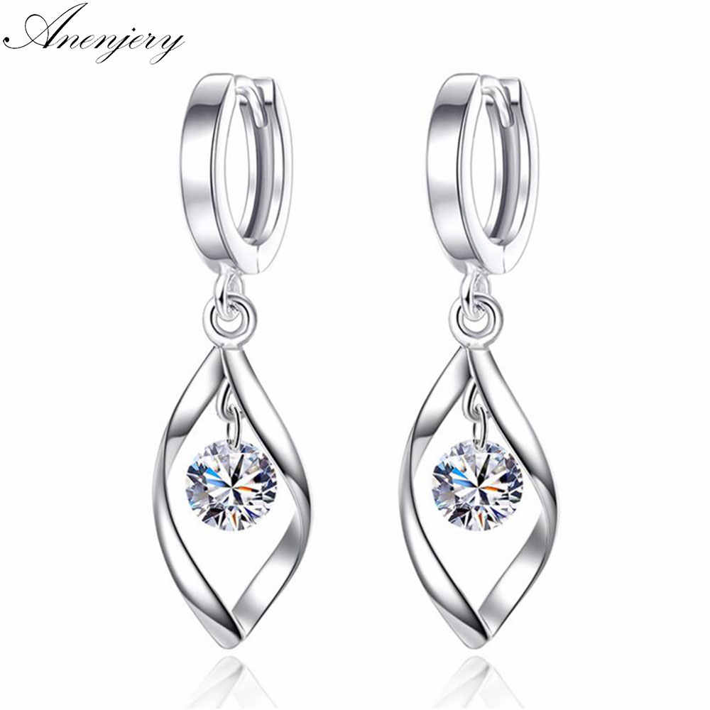 Anenjery pendientes 925 Sterling Silver Zircon Twist Hoop Earrings For Women oorbellen boucle d'oreille femme S-E313