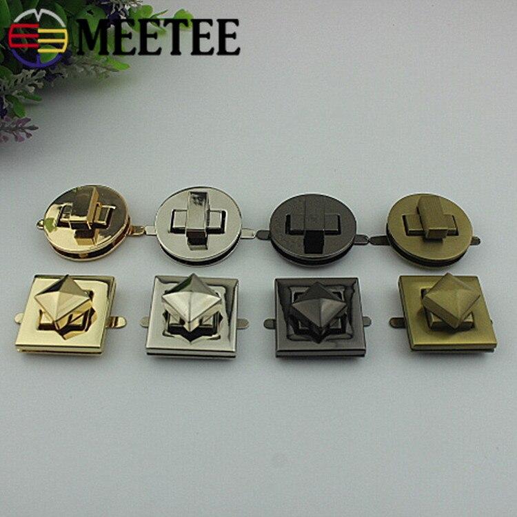 Meetee 2/5pcs Metal Bag Twist Lock Square Round Handbags Purse Buckle DIY Luggage Hardware Accessories BD374