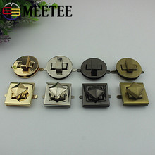 Meetee 2/5pcs Metal Bag Twist Lock Square Round Handbags Purse Buckle DIY Luggage Hardware Accessories BD374