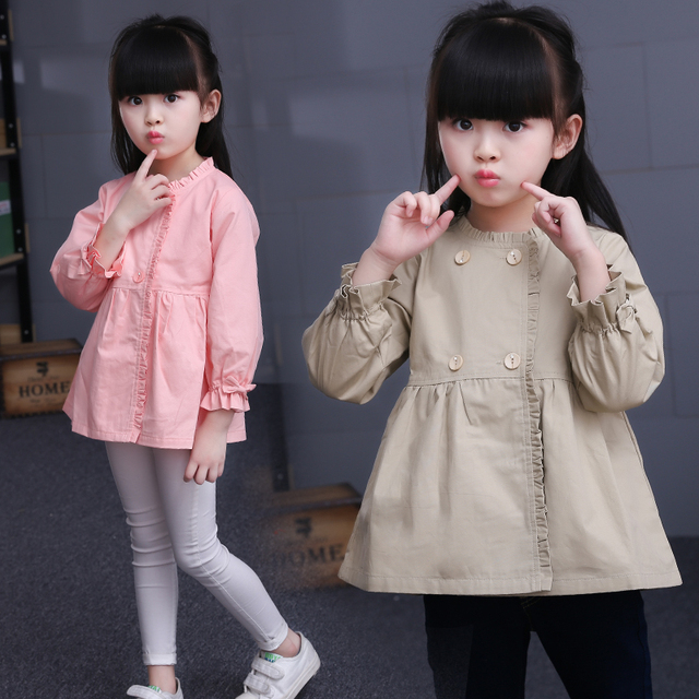 7e3a6ae746ad 2018 Fall Children s Wear Little Girls Casual Long Trench Coat ...