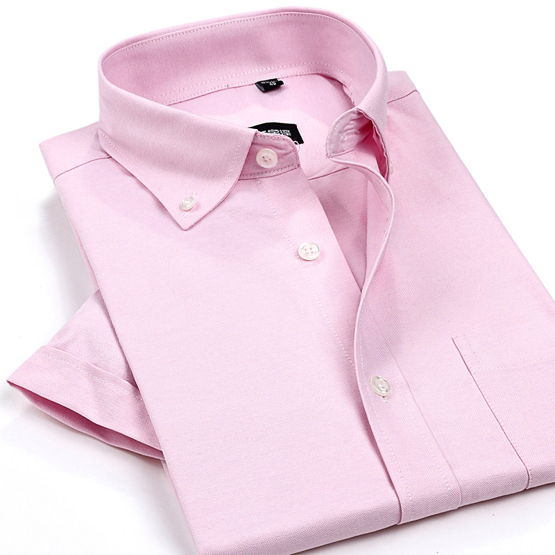 Men Solid Dress Shirts 2017 summer Oxford Mens Shirt cotton Short Sleeve Casual Male fitted Shirts man Slim Fit Shirts For Men ...
