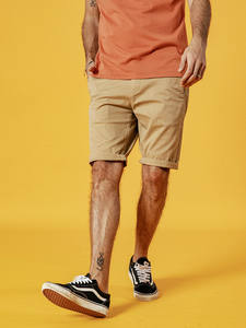 SIMWOOD Shorts Men Slim-Fit Cotton Casual Summer Plus-Size New Knee-Length 9-Color-Available