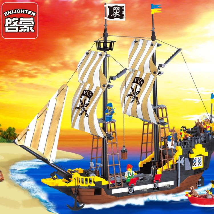 Lepin 590Pcs Enlighten Pirate Series Pirate Ship Weapons Assembling Building Blocks Bricks Toys Compatible Legoe lepin 22001 pirate ship imperial warships model building block briks toys gift 1717pcs compatible legoed 10210
