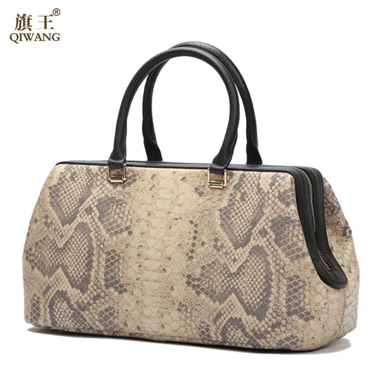 Qiwang Python Pattern Luxury Doctor Women Handbags Designer Genuine Cow Leather Bag Female Bolsa Feminina New Arrive