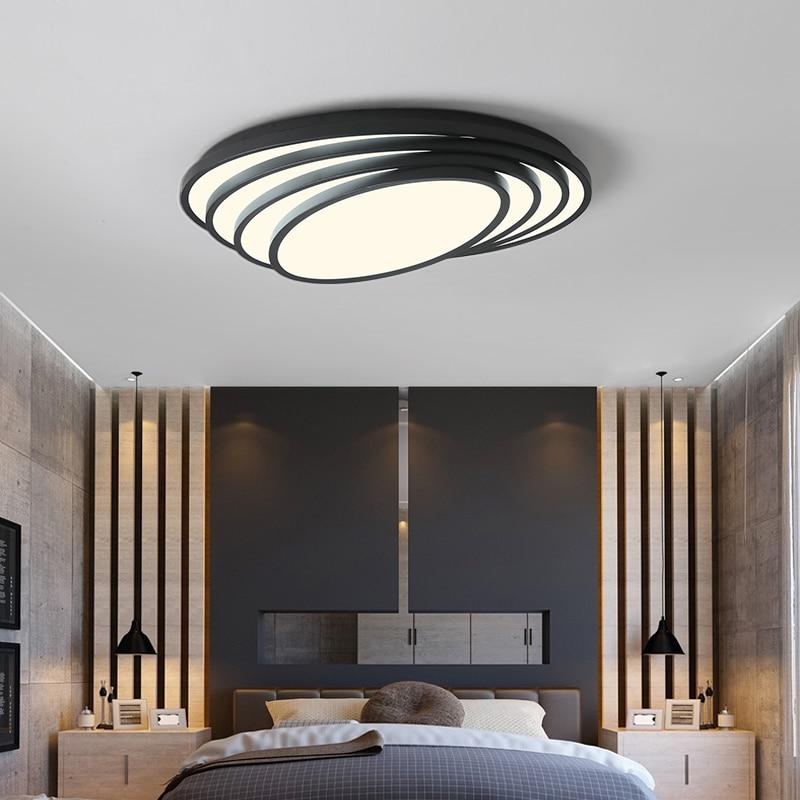 White/Black Oval Modern Led Ceiling Lights For Living Room